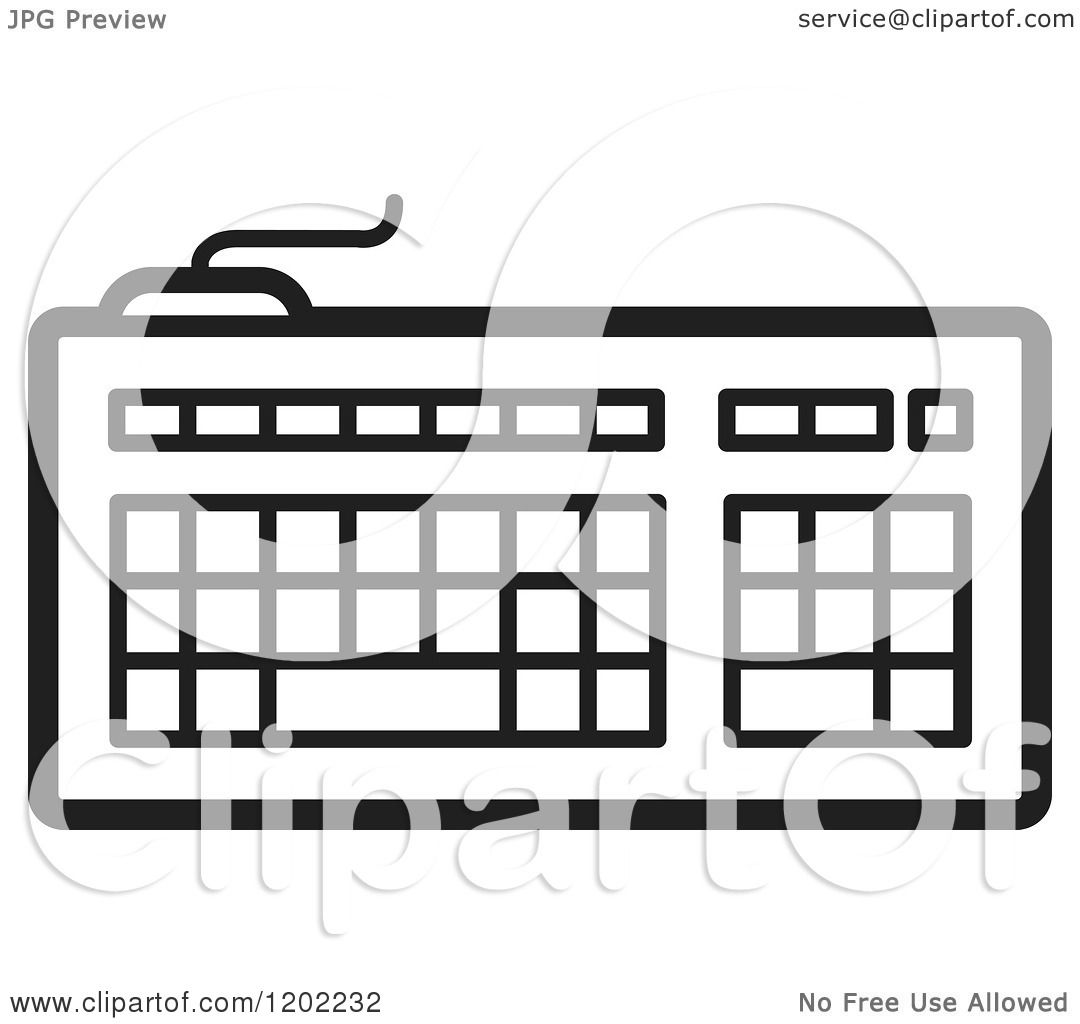 Clipart Of A Black And White Computer Keyboard Icon