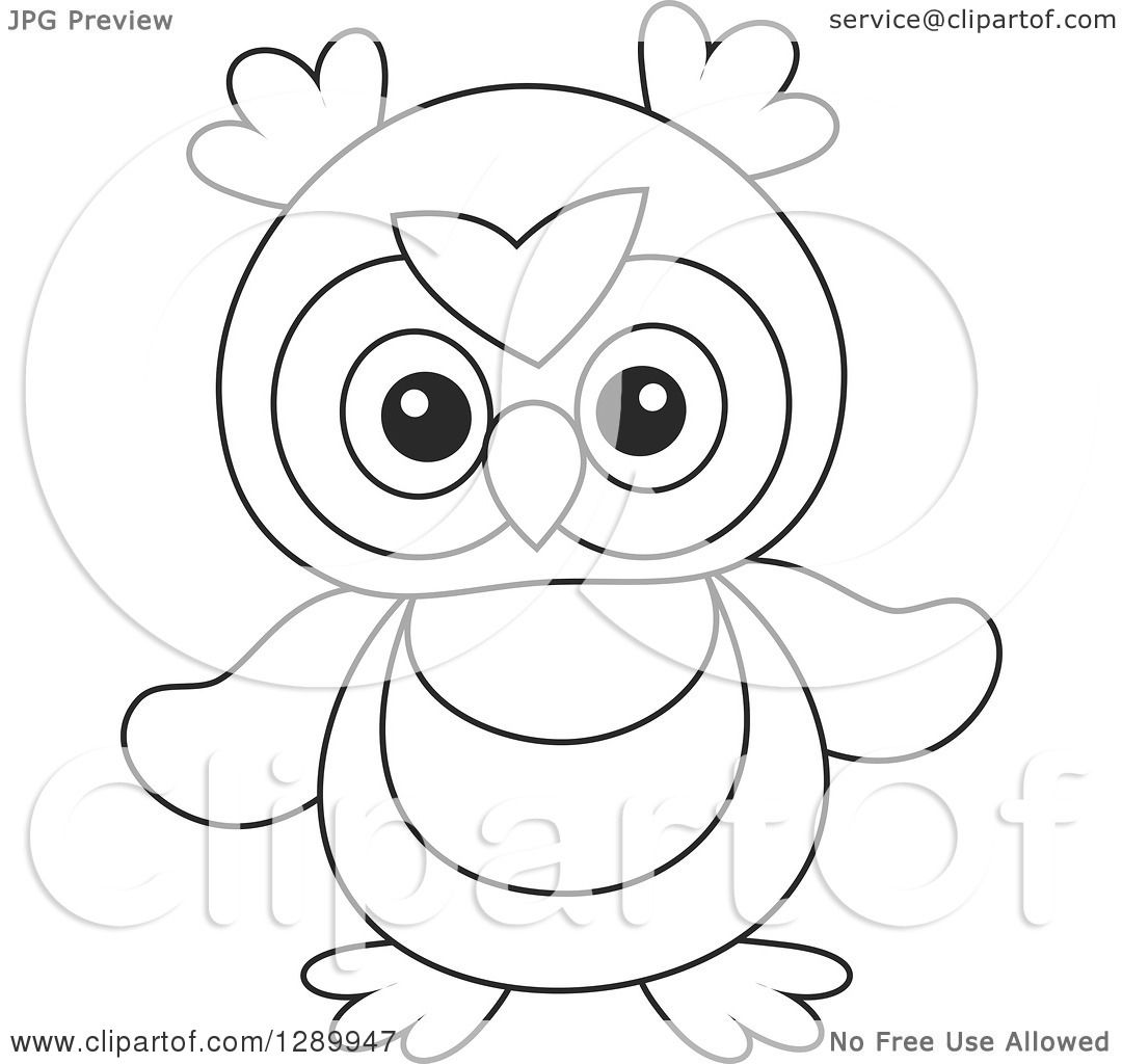 Clipart Of A Black And White Cute Owl Toy