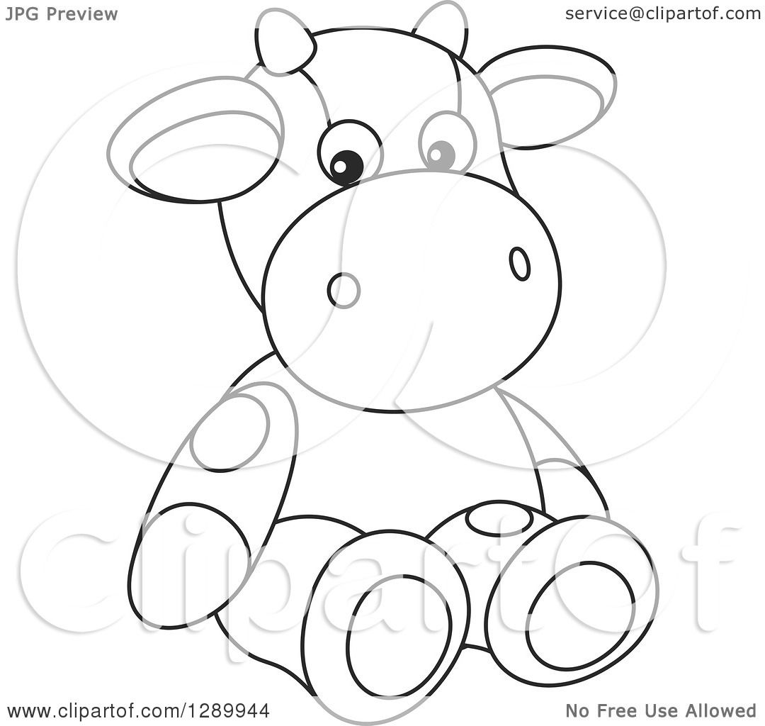 Clipart Of A Black And White Cute Stuffed Cow Toy