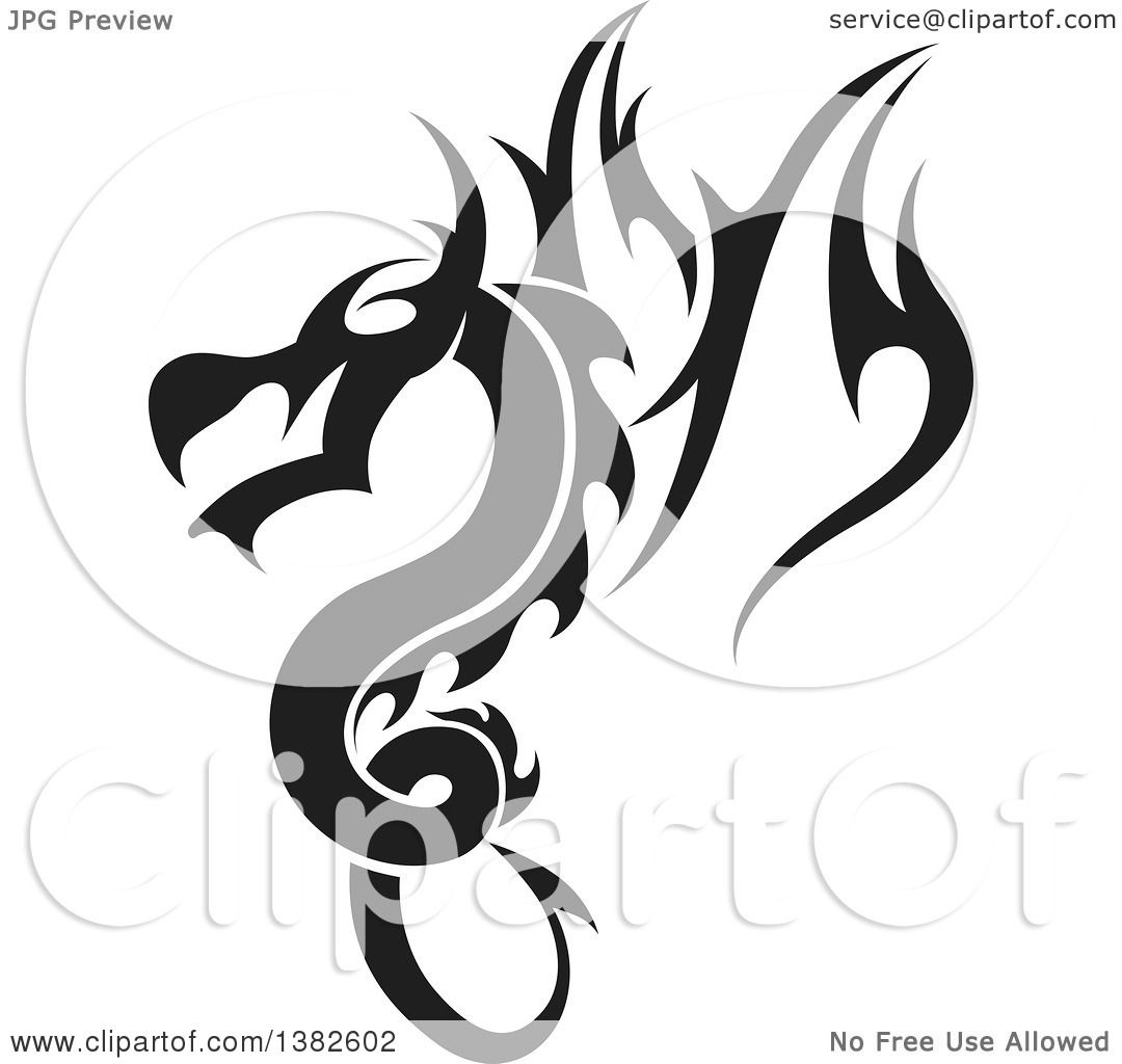 Clipart Of A Black And White Dragon Tattoo Design
