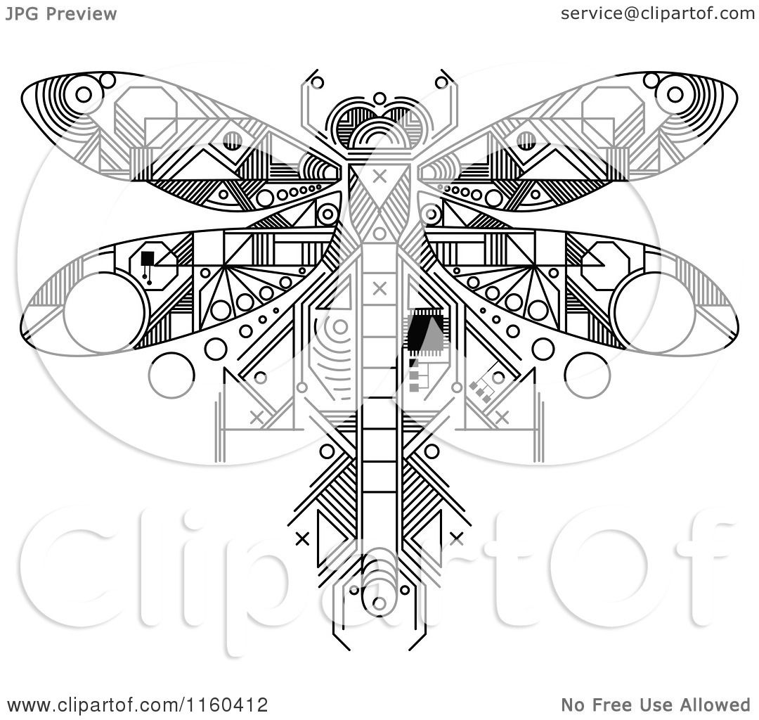 Clipart Of A Black And White Dragonfly Motherboard