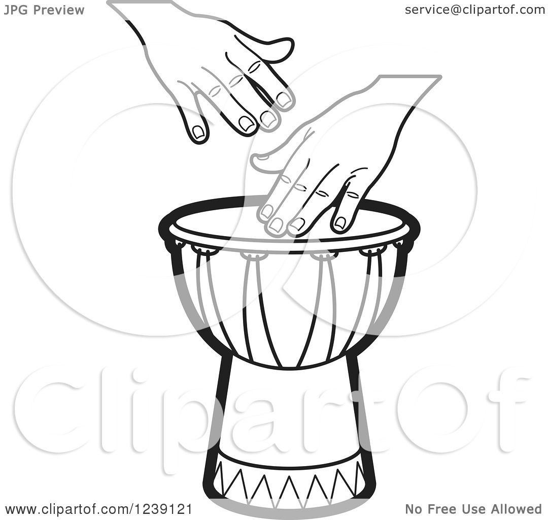 Clipart Of A Black And White Drum And Hands 3