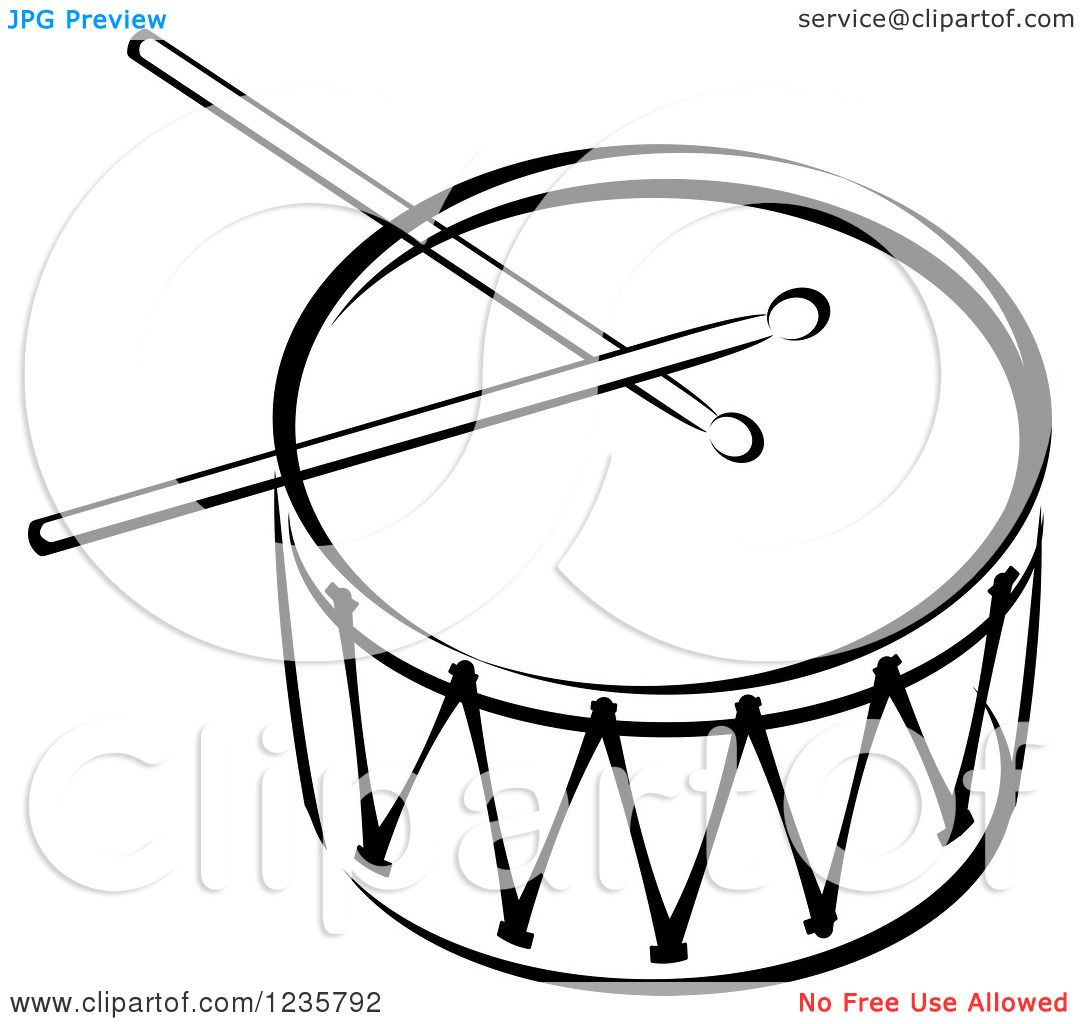 Clipart Of A Black And White Drum And Sticks