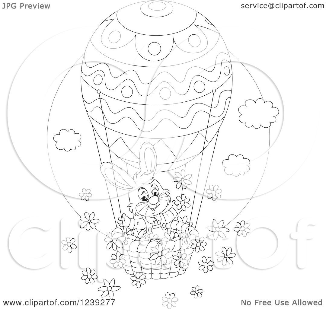 Clipart Of A Black And White Easter Bunny Rabbit On An Egg