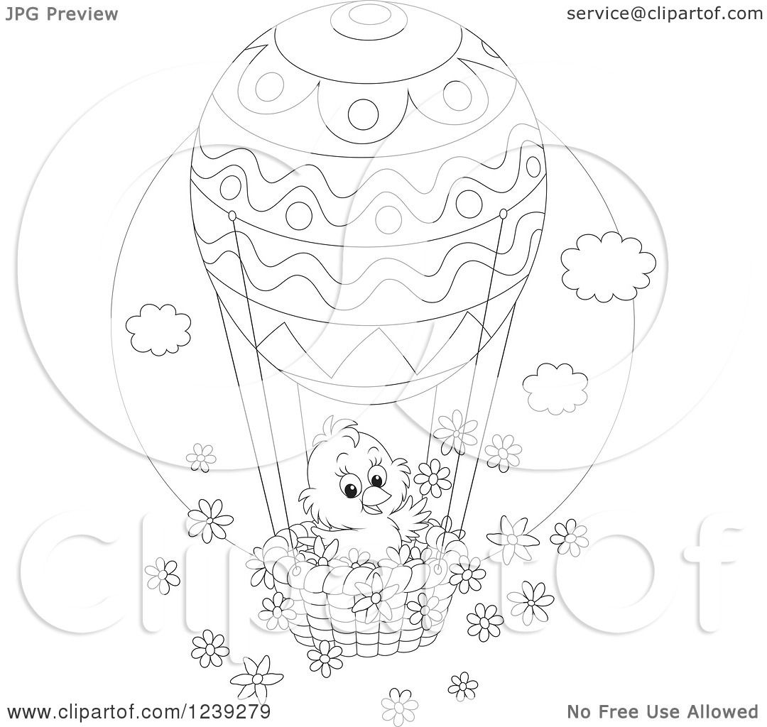 Clipart Of A Black And White Easter Chick On An Egg Hot