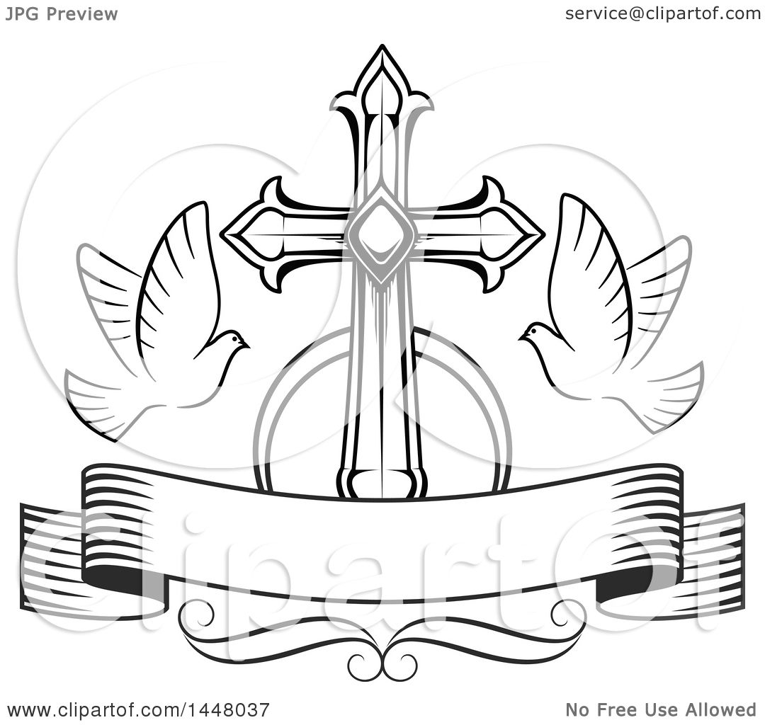 Clipart Of A Black And White Easter Cross With Doves And A Blank Ribbon Banner