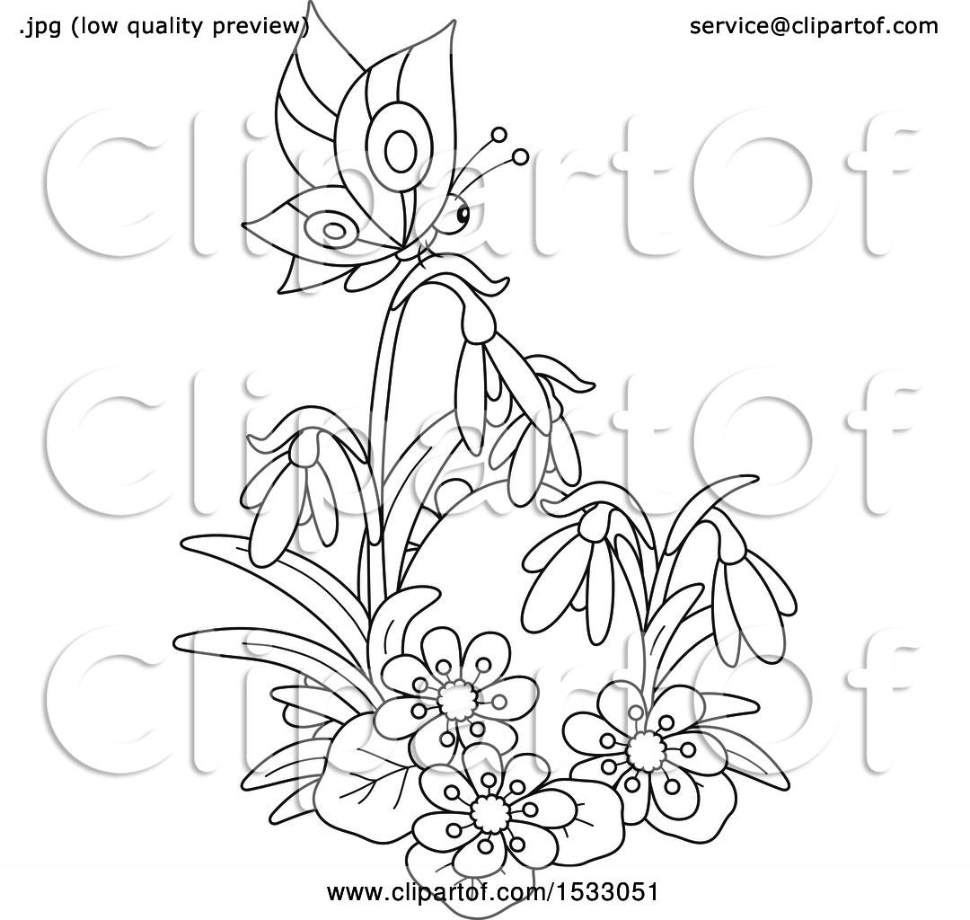 Clipart Of A Black And White Easter Egg With Spring