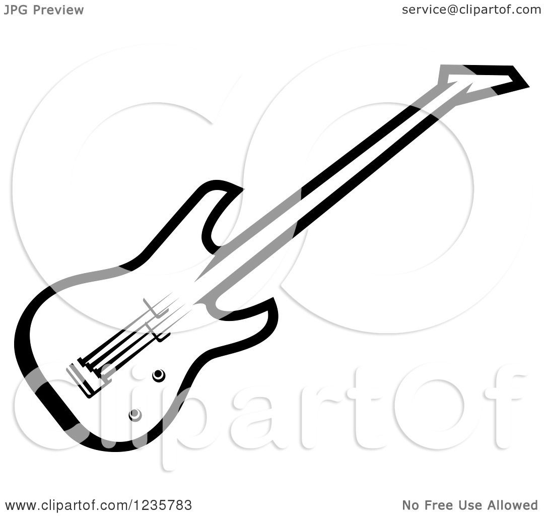 Clipart Of A Black And White Electric Guitar 2