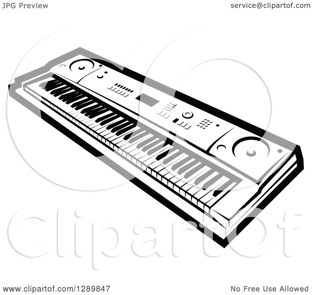 Clipart Of A Black And White Electric Music Piano Keyboard