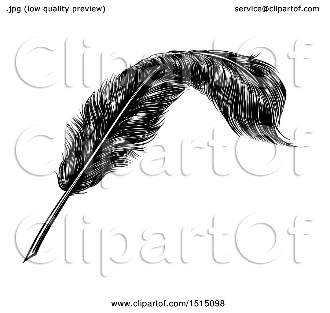 Clipart Of A Black And White Engraved Feather Quill Pen