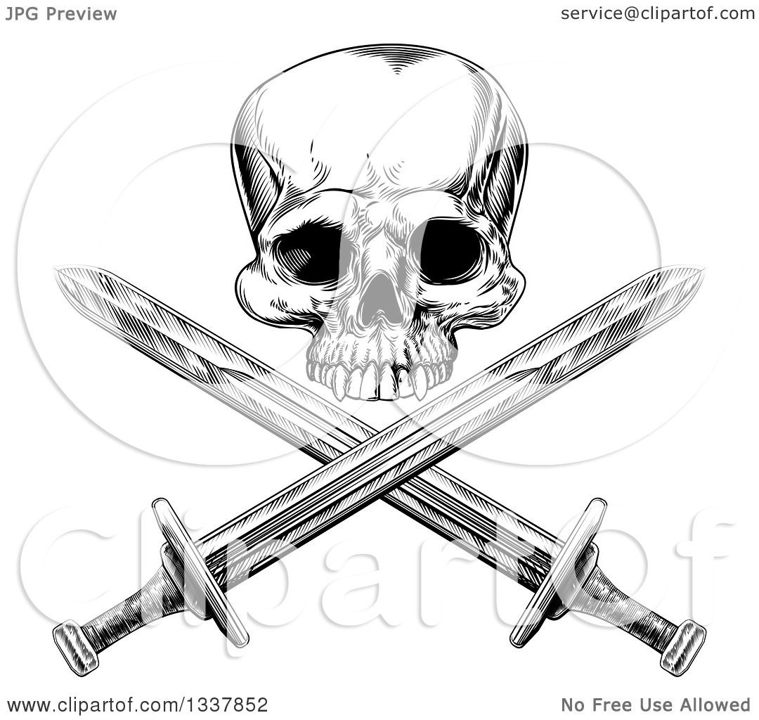 Clipart Of A Black And White Engraved Pirate Skull Over
