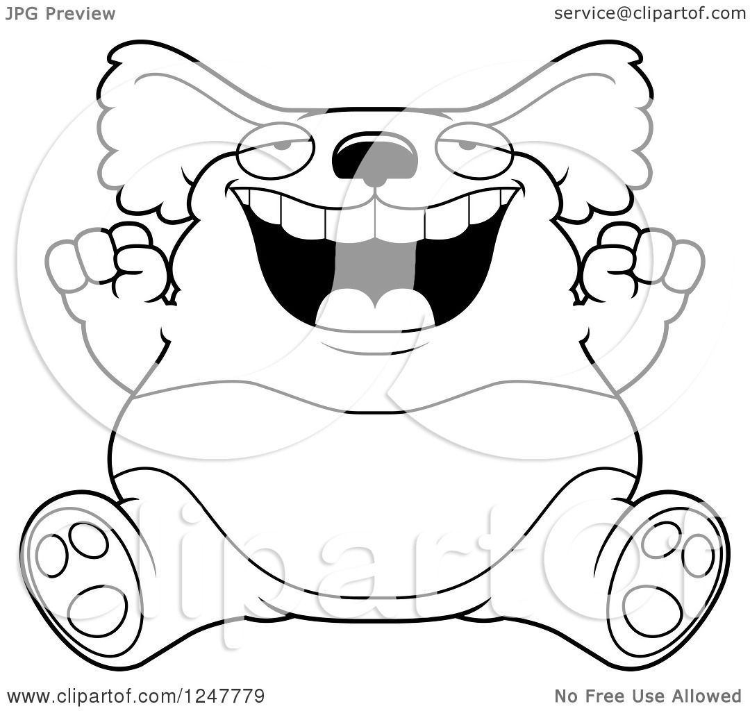 Clipart Of A Black And White Fat Koala Sitting And