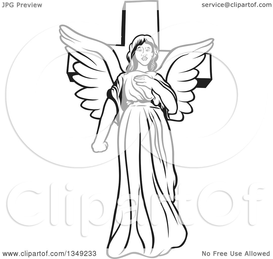 Clipart Of A Black And White Female Angel In Front Of A