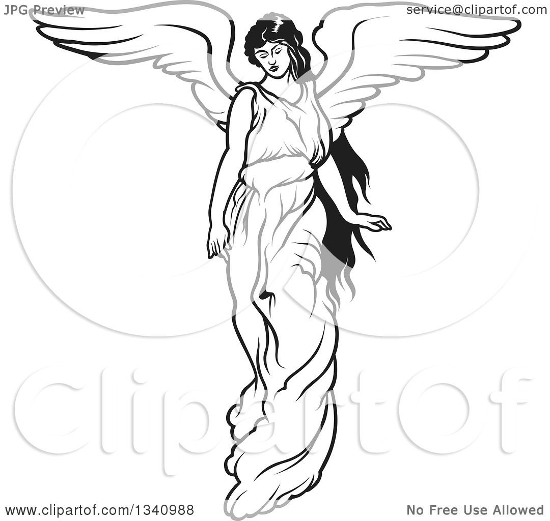 Clipart Of A Black And White Female Angel
