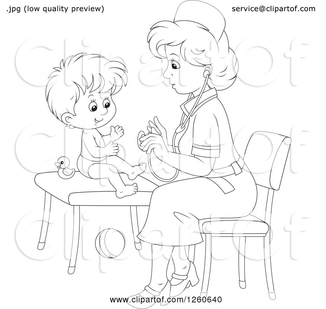 Clipart Of A Black And White Female Nurse Tending To A
