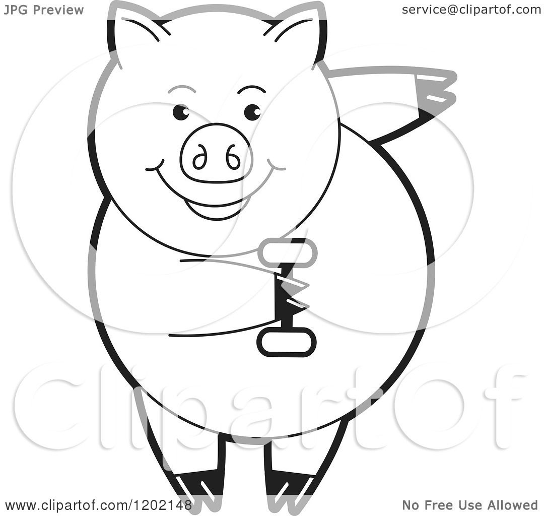 Clipart Of A Black And White Fit Pig Exercising With A
