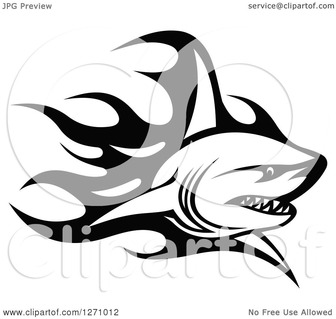 Clipart Of A Black And White Flaming Shark 2