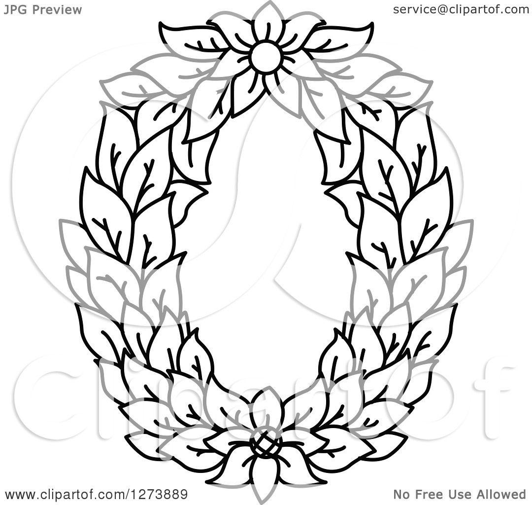 Clipart Of A Black And White Floral Capital Letter O With