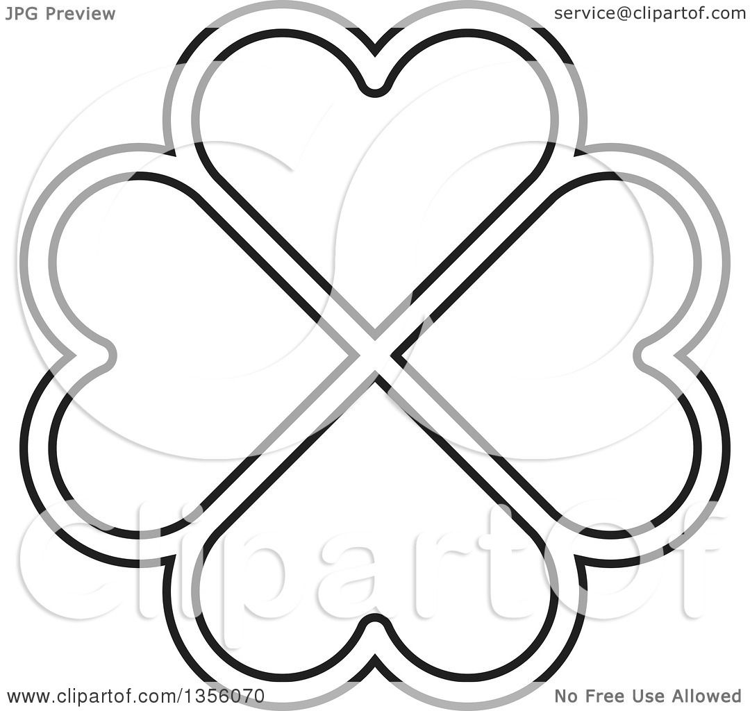 Clipart Of A Black And White Flower Made Of Heart Shaped