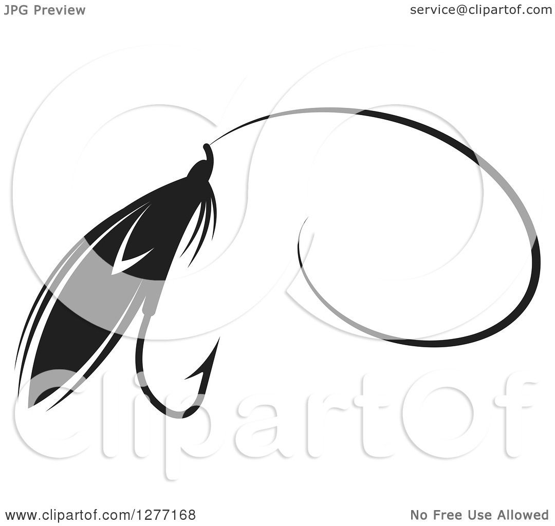 Clipart Of A Black And White Fly Fishing Lure And Hook