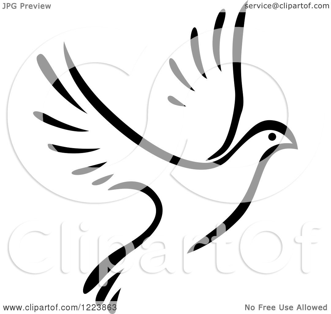 Clipart Of A Black And White Flying Dove 5