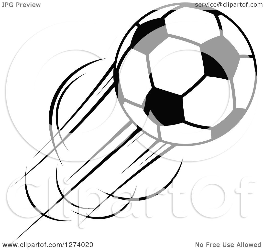 Clipart Of A Black And White Flying Soccer Ball 11