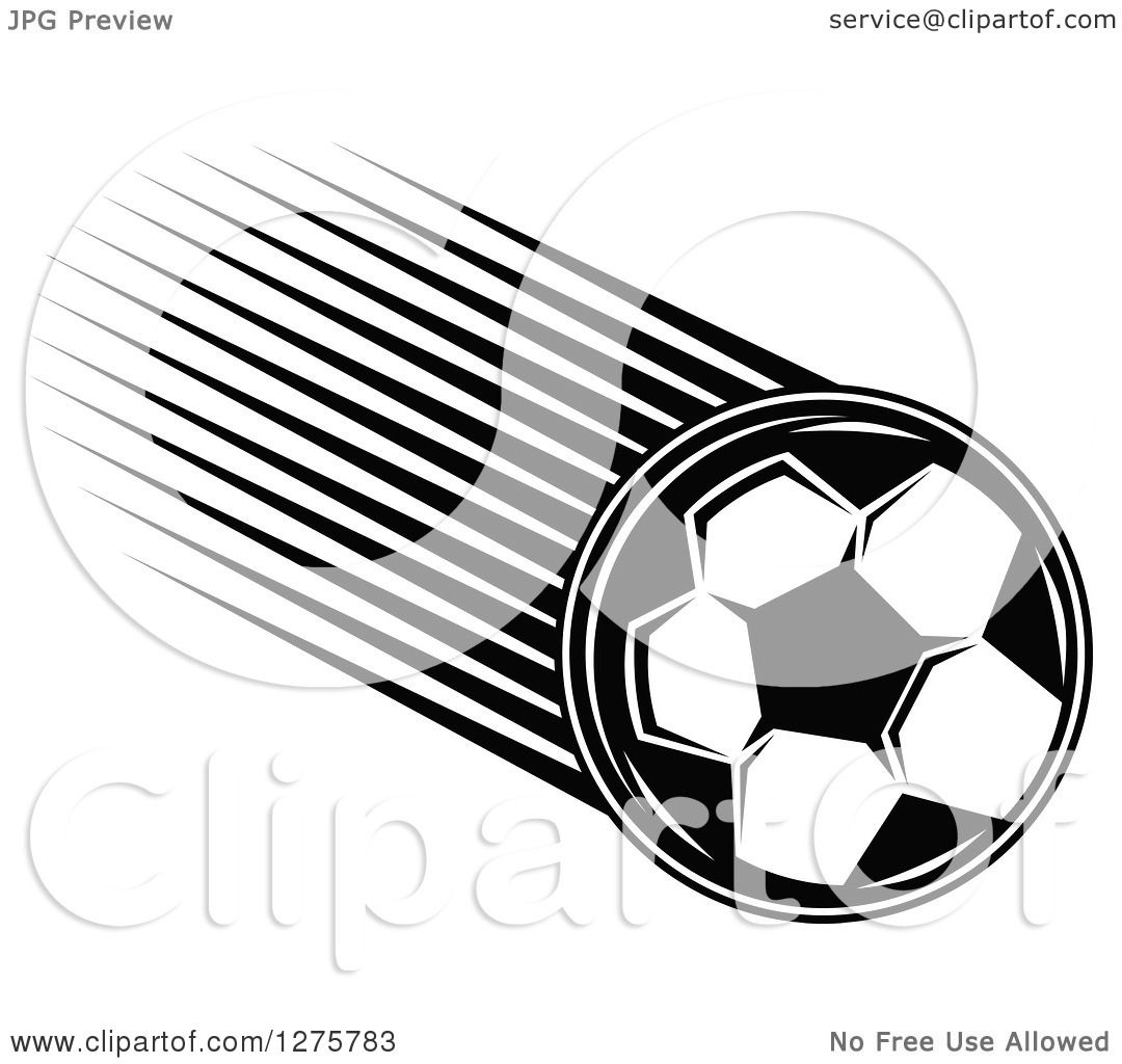 Clipart Of A Black And White Flying Soccer Ball 13