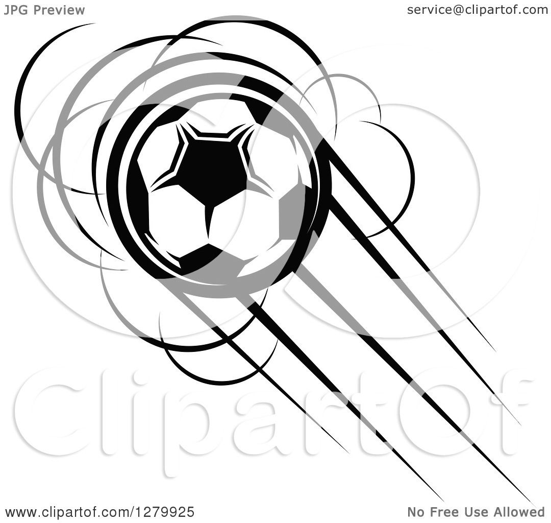 Clipart Of A Black And White Flying Soccer Ball 15