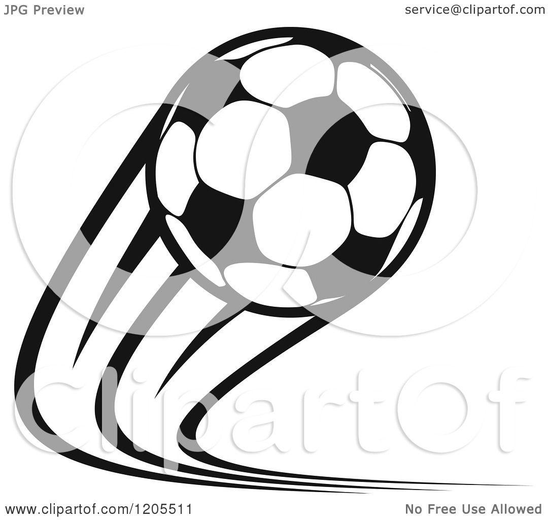Clipart Of A Black And White Flying Soccer Ball