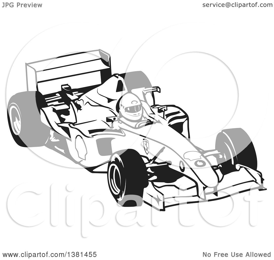 Clipart Of A Black And White Forumula One Race Car And