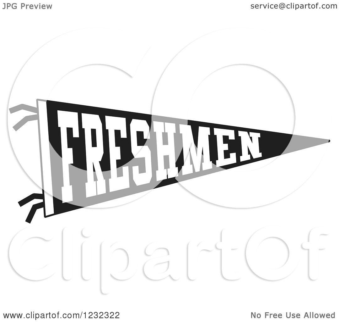 Clipart Of A Black And White Freshmen Team Pennant Flag