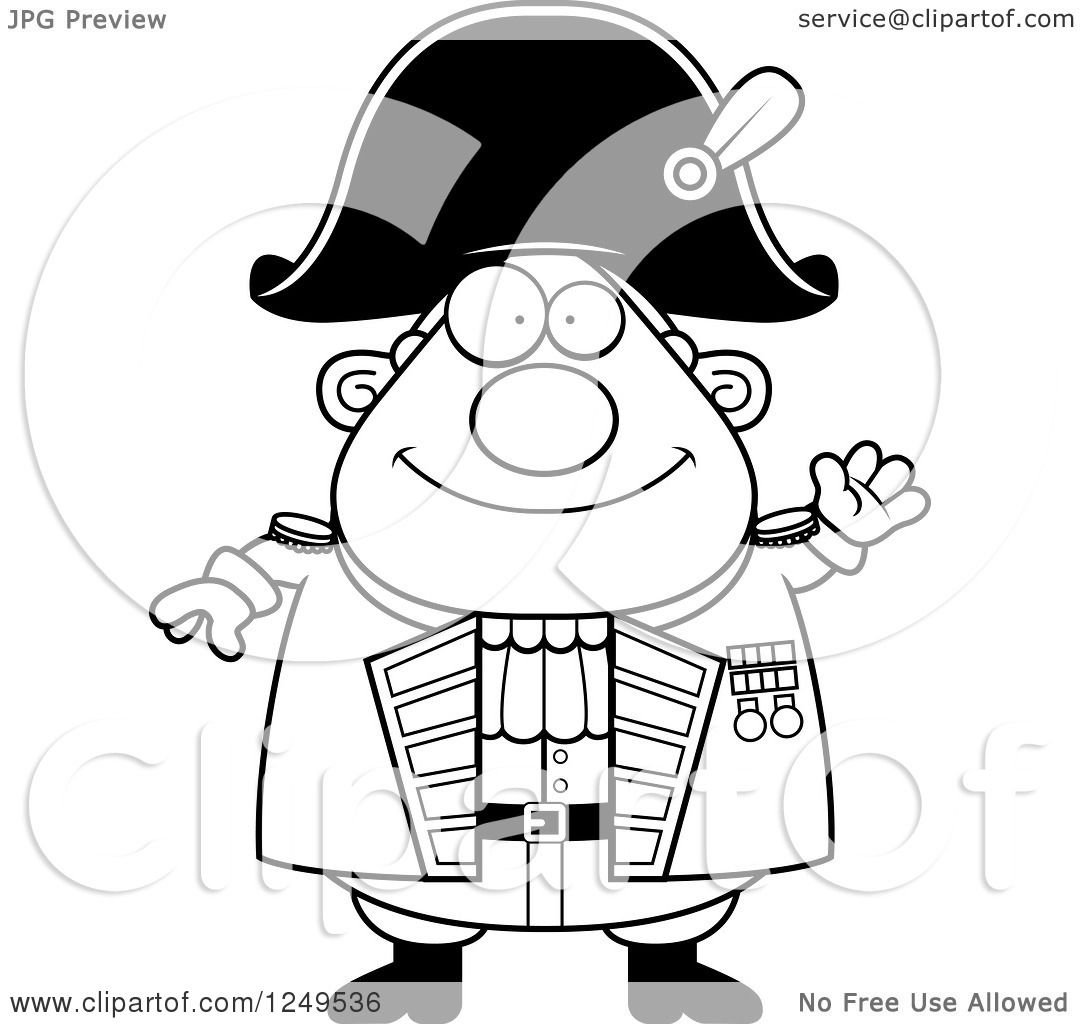 Clipart Of A Black And White Friendly Waving Chubby Old