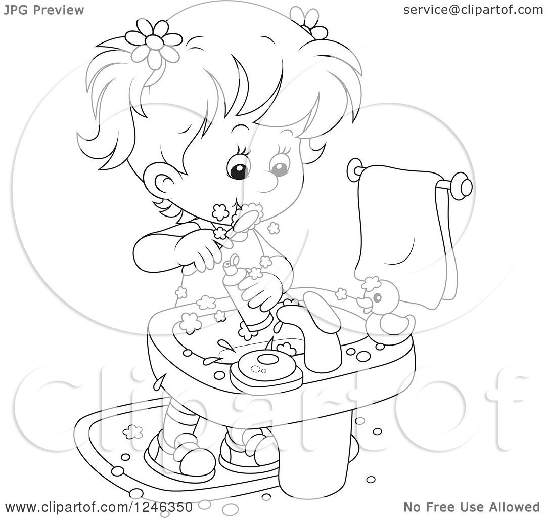 Clipart Of A Black And White Girl Brushing Her Teeth