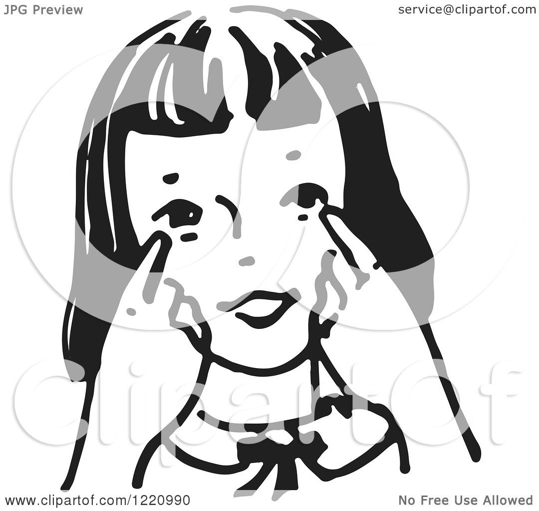 Clipart Of A Black And White Girl Pointing To Her Eyes