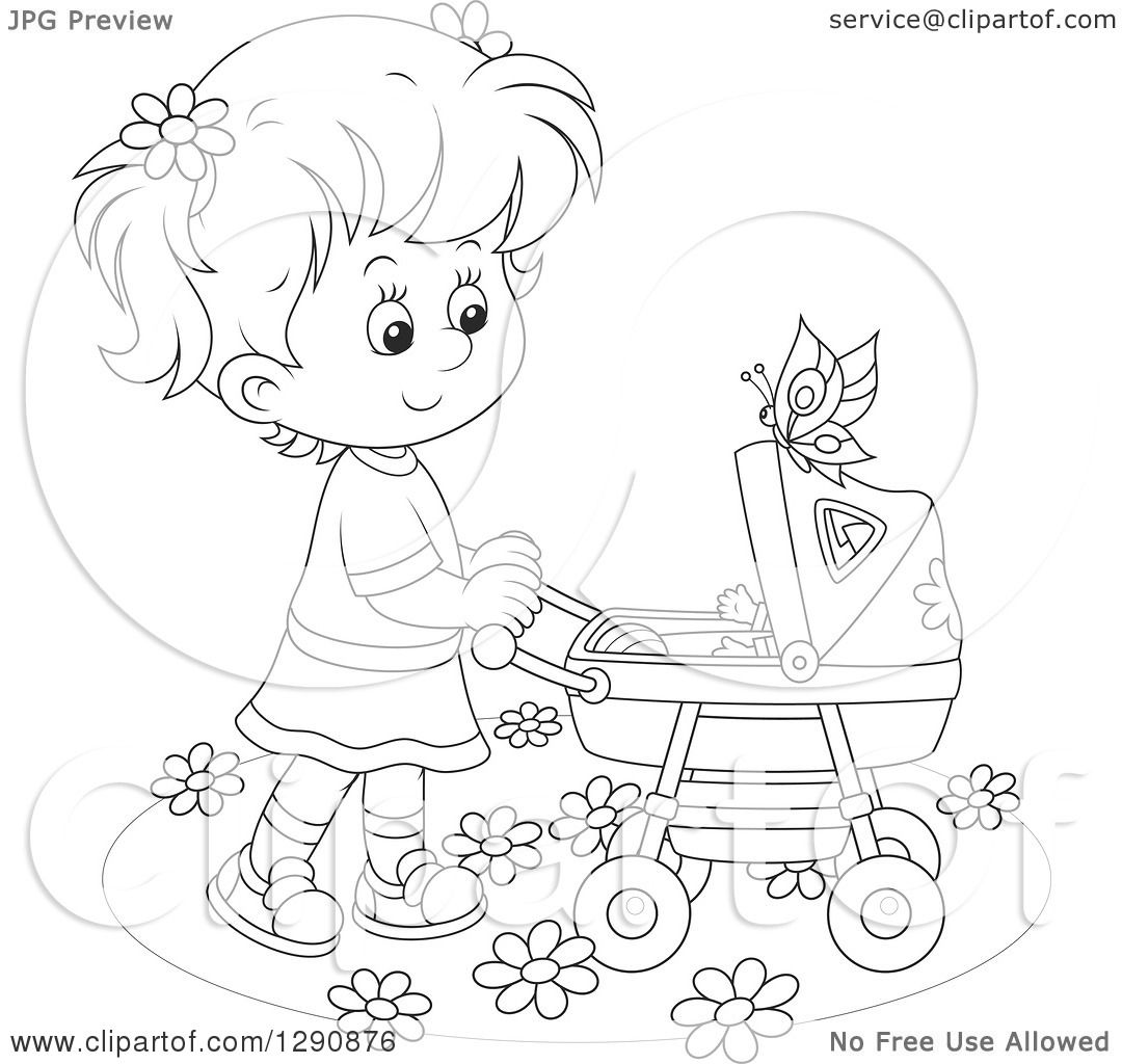 Clipart Of A Black And White Girl Pushing A Doll Or Baby In A Carriage In The Spring Time