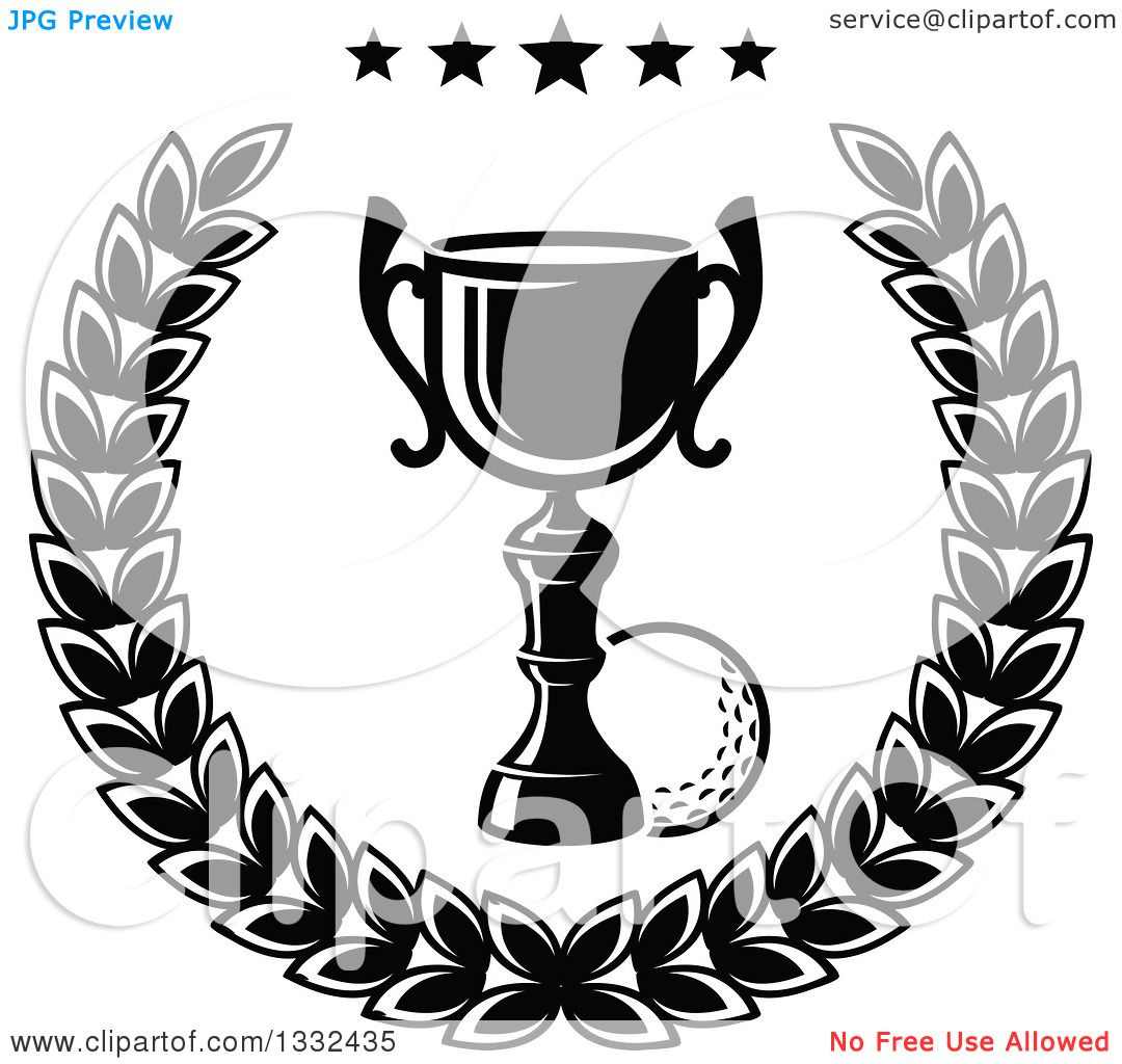 Clipart Of A Black And White Golf Ball And Trophy In A