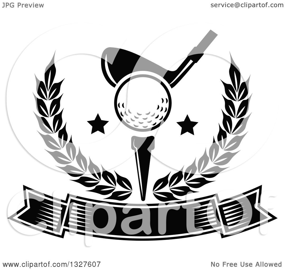 Clipart Of A Black And White Golf Club Against A Ball On A