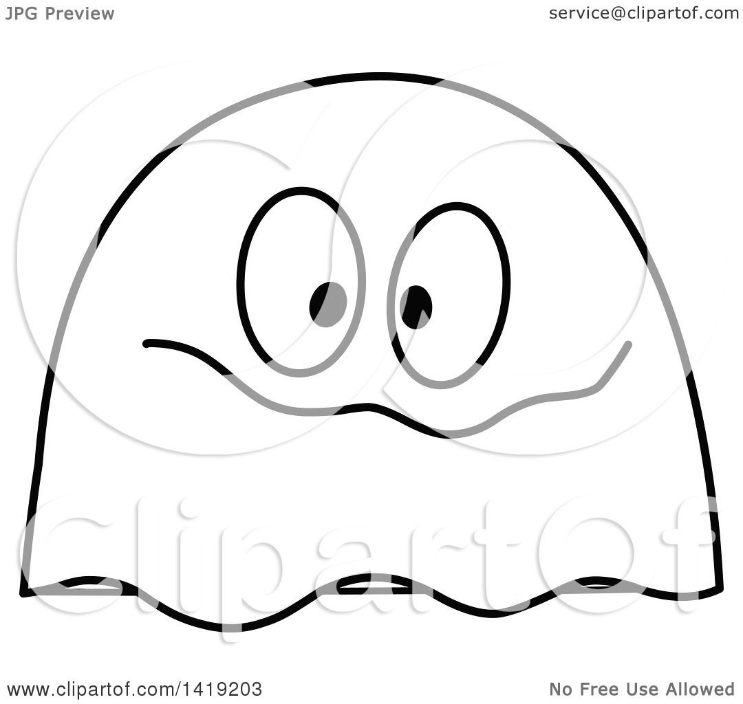 Clipart Of A Black And White Goofy Ghost Emoticon