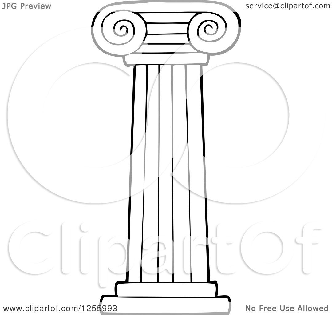 Clipart Of A Black And White Greek Pillar Column