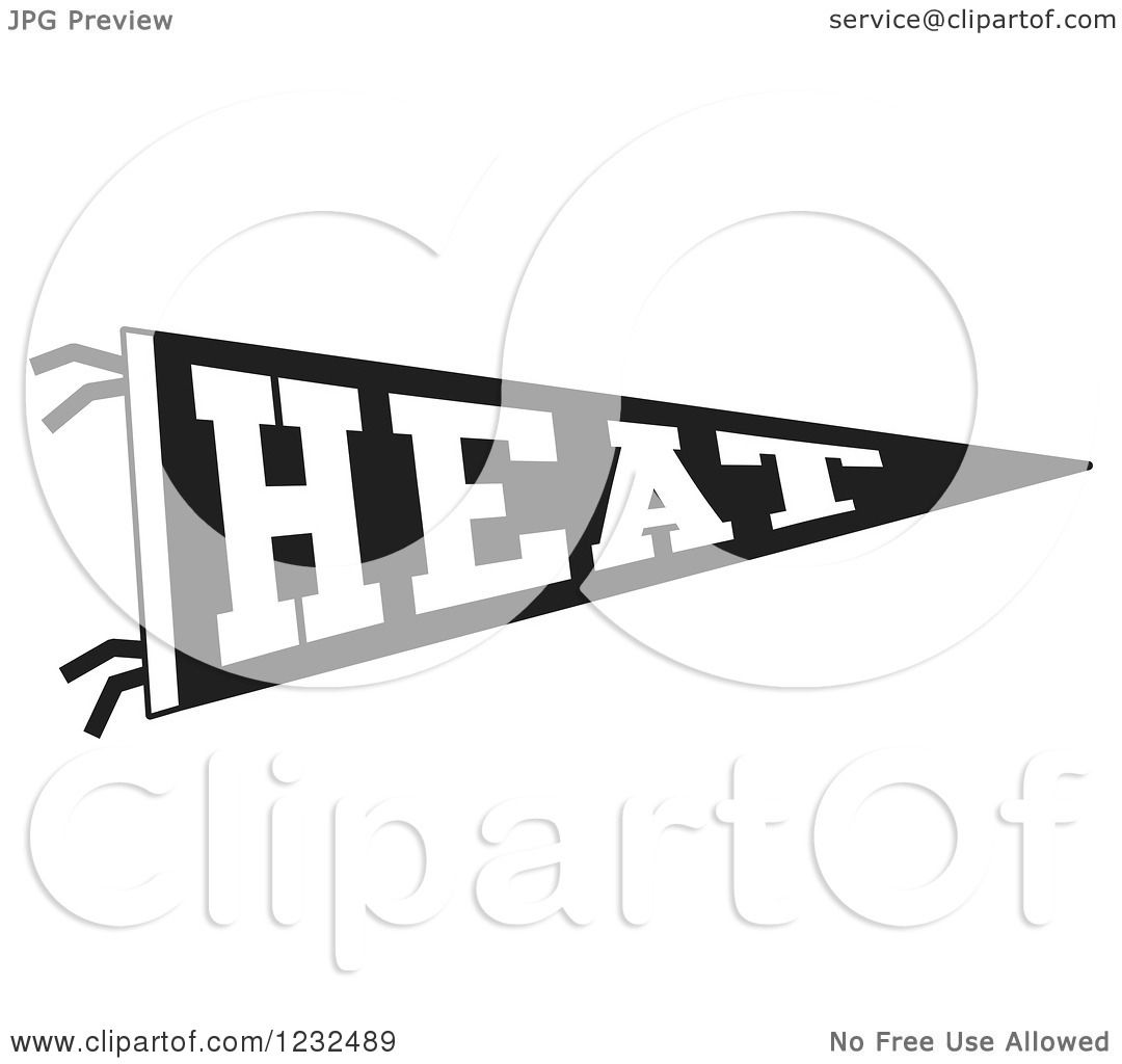 Clipart Of A Black And White Heat Team Pennant Flag