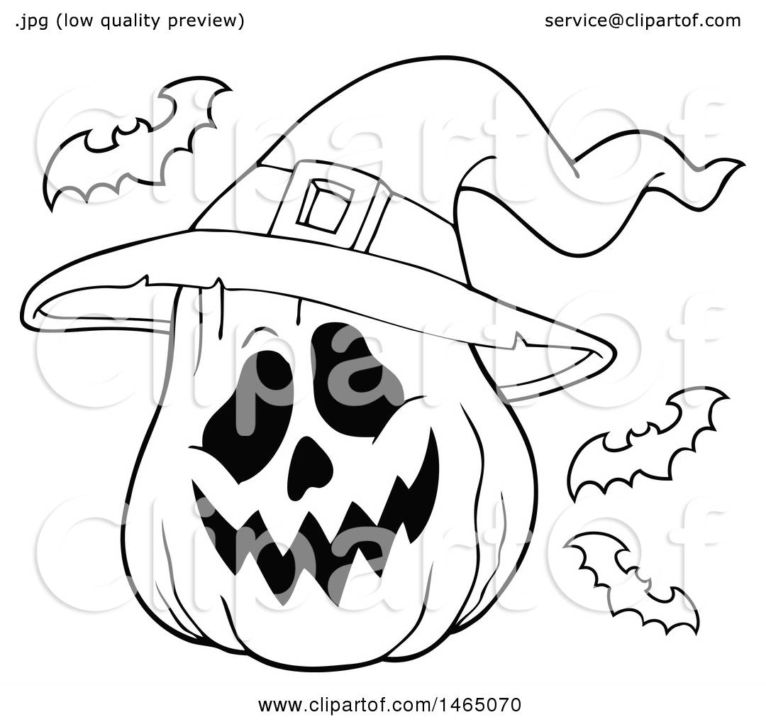 Clipart Of A Black And White Halloween Jackolantern With