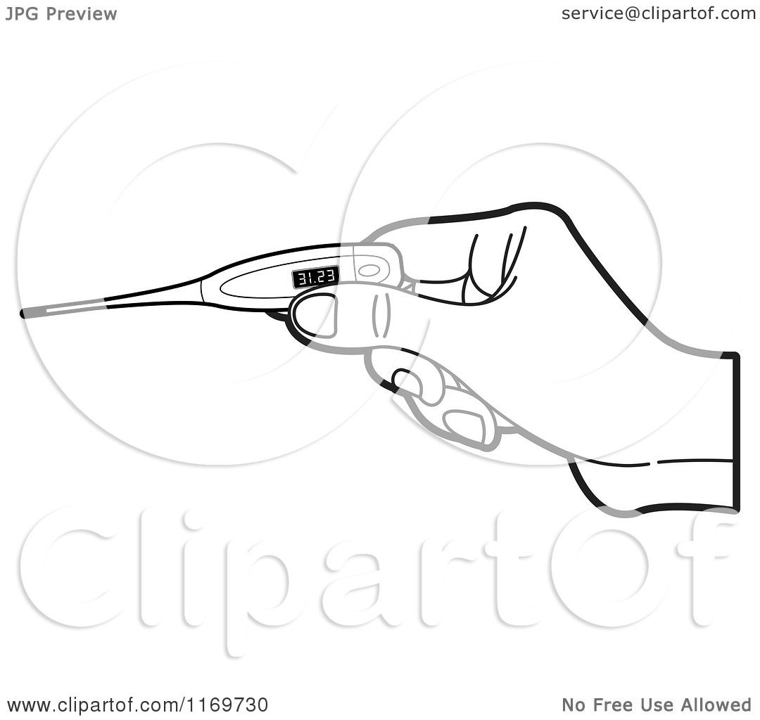 Clipart Of A Black And White Hand Holding A Digital
