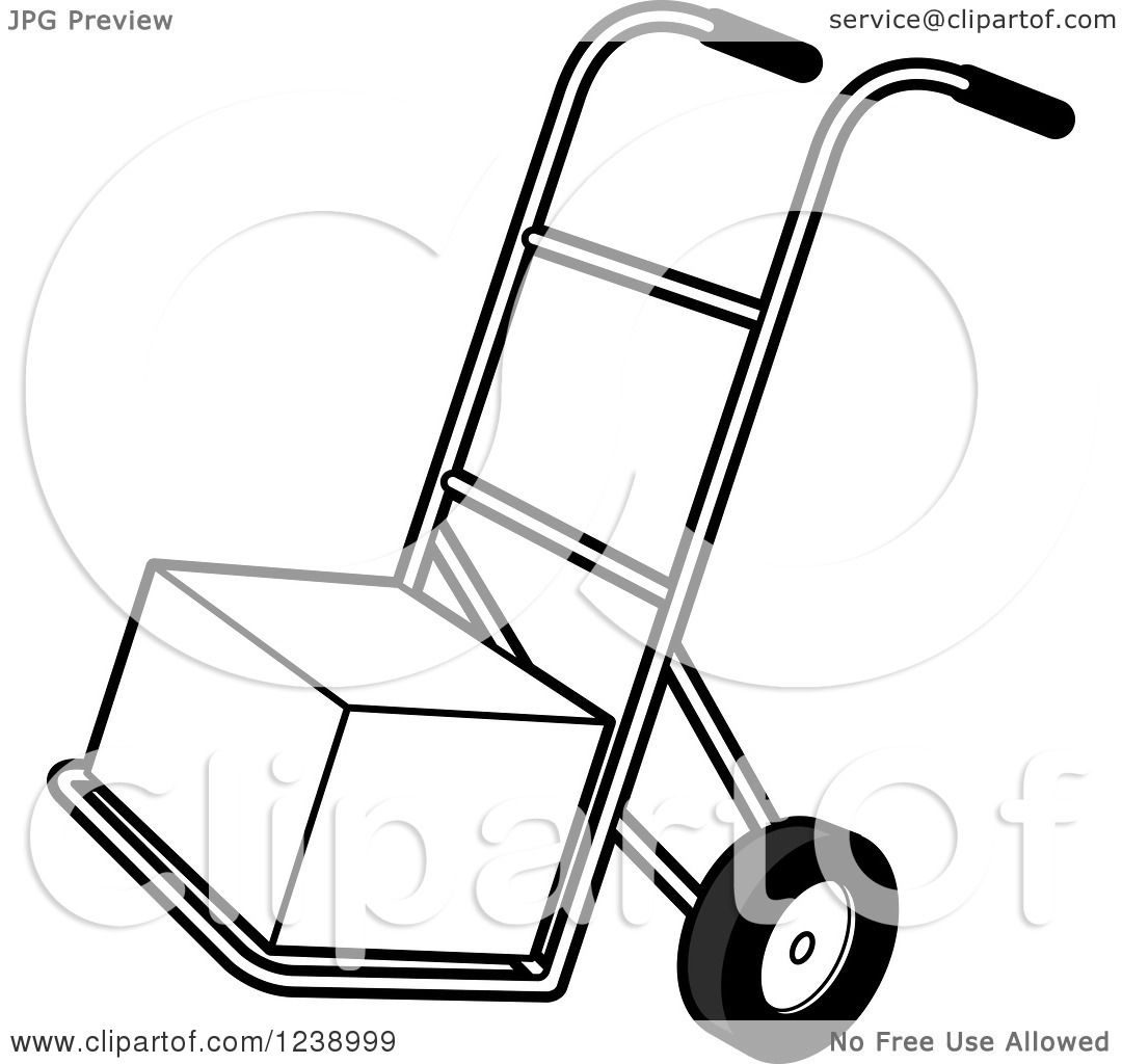 Clipart Of A Black And White Hand Truck Dolly With A Box