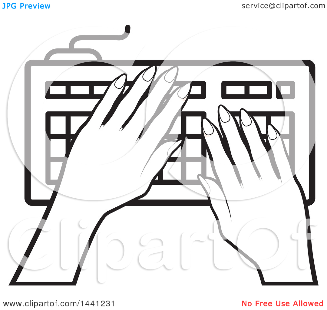 Clipart Of A Black And White Hands Typing On A Computer
