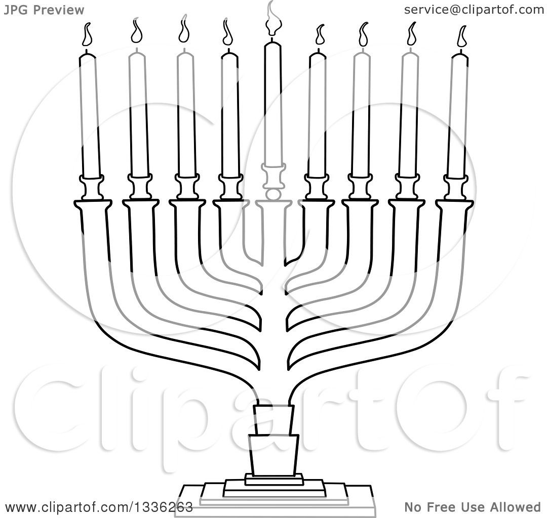 Clipart Of A Black And White Hanukkah Menorah Lamp With