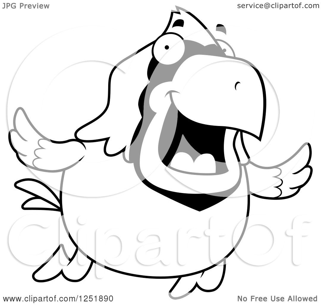 Clipart Of A Black And White Happy Cardinal Bird Flying