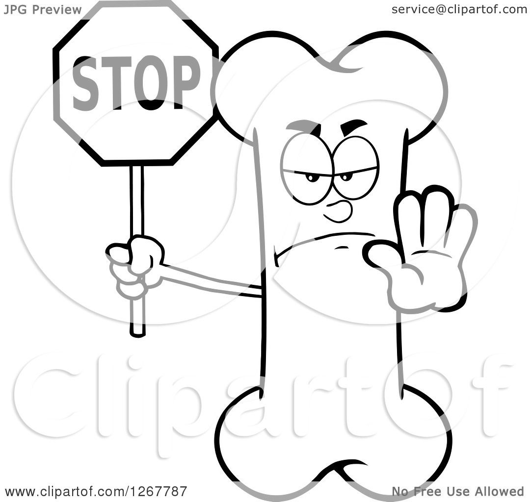 Clipart Of A Black And White Happy Cartoon Bone Character
