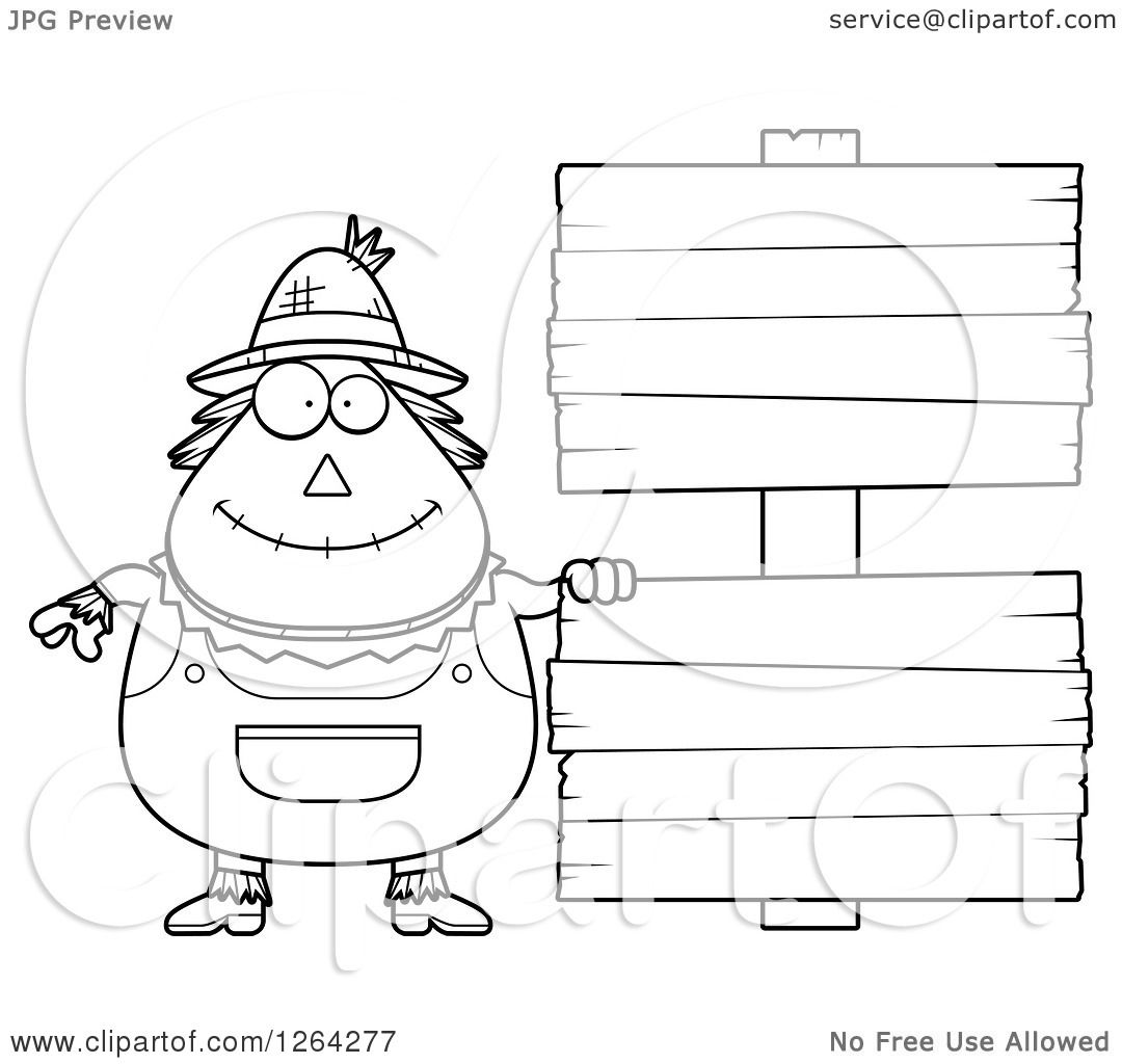 Clipart Of A Black And White Happy Cartoon Chubby Scarecrow With Wood Signs