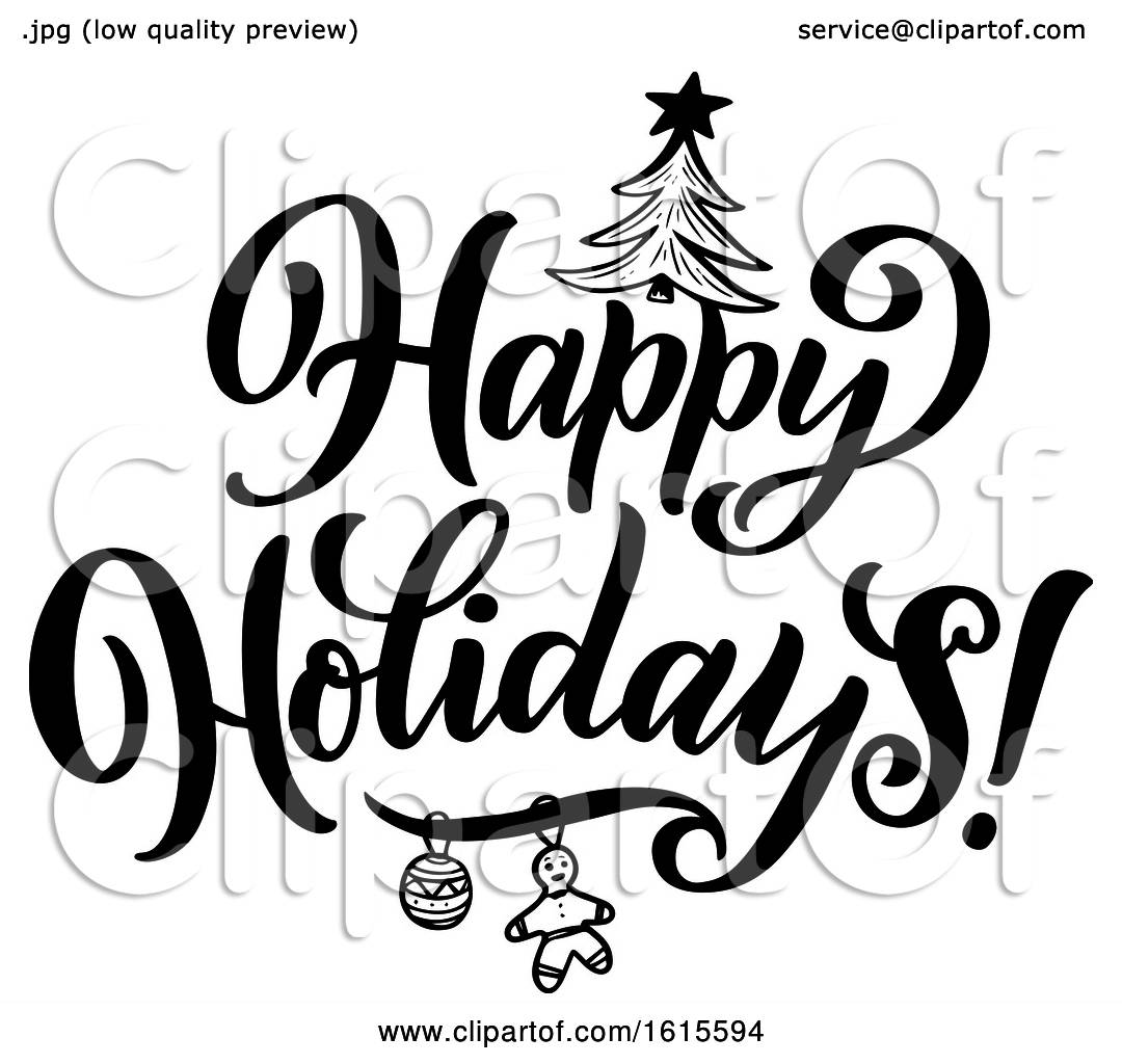 Clipart Of A Black And White Happy Holidays Greeting