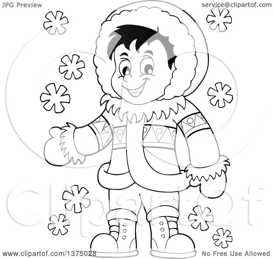 Clipart Of A Black And White Happy Inuit Eskimo Boy